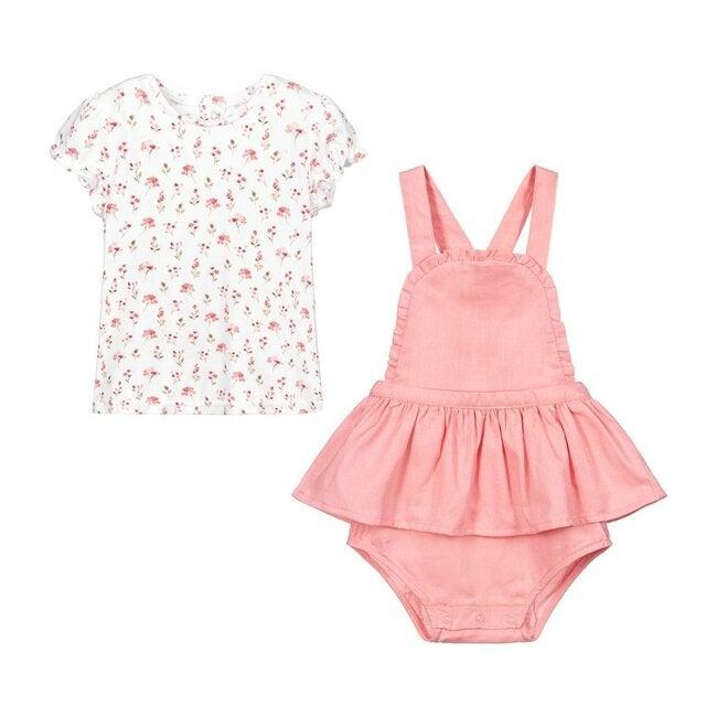 Pinafore Dress Set, Pink