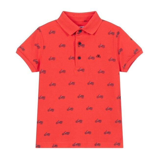 Motorcycle Print Polo, Red