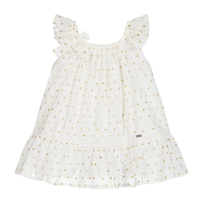 Gold Polka Dot Dress, Ivory