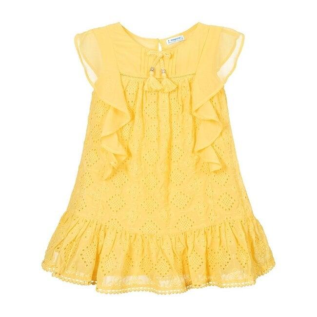 Embroidered Chiffon Dress, Yellow