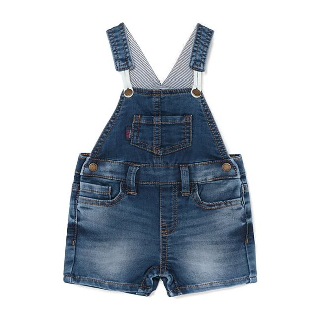 Denim Overall Shorts, Blue