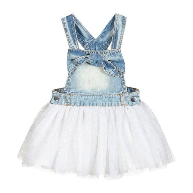 Denim Layered Jersey Dress, Blue