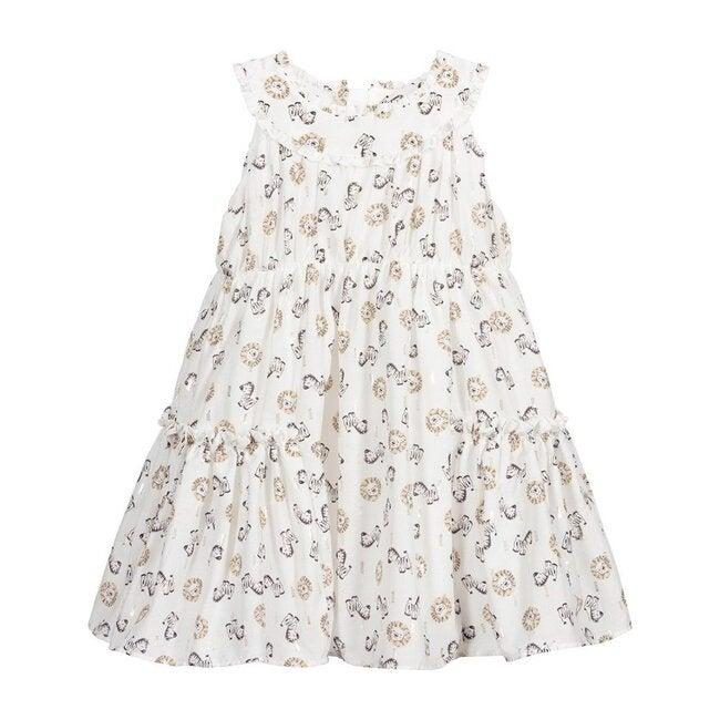 Animal Ruffle Dress, White