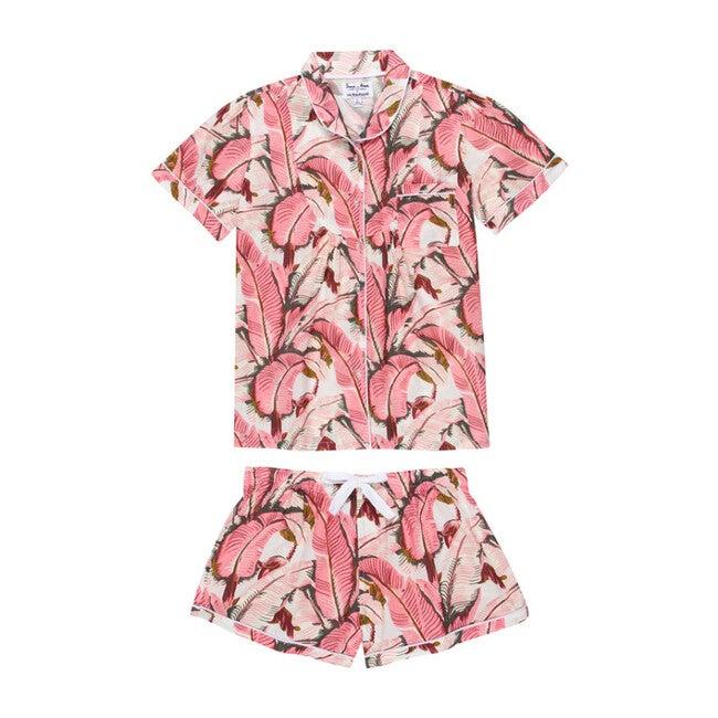 Women's Banana Leaf Shirt & Boxer Set, Pink