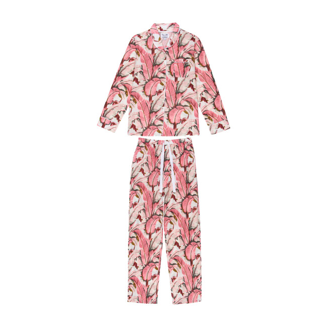 Women's Banana Leaf Long Sleeve PJ Set, Pink