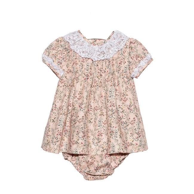 Pink Floral Jaretas Lace Collar Dress