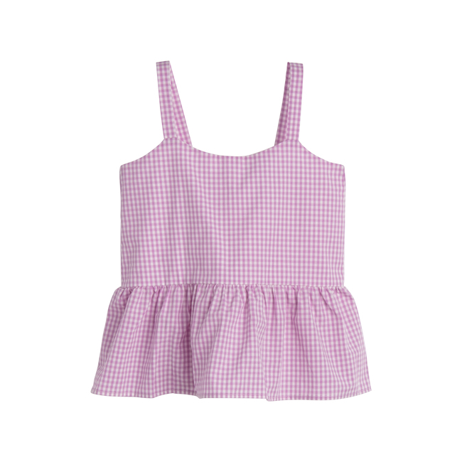 Imani Top, Mini Lavender Gingham