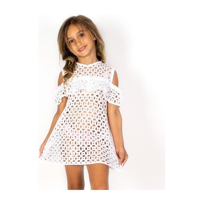 Cold Shoulder Beach Dress, White Eyelet