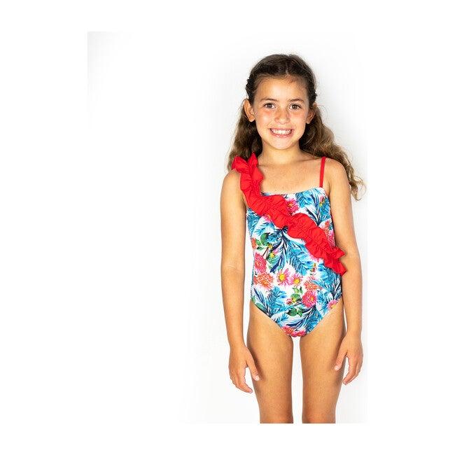 Ruffle Swim, Blue Hibiscus Red