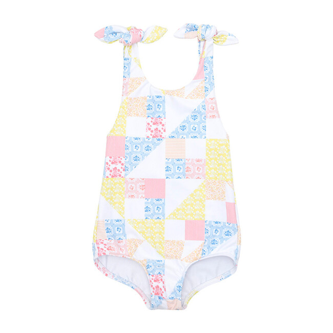 *Exclusive* Girl's Tie Knot One Piece, Patchwork - One Pieces - 1