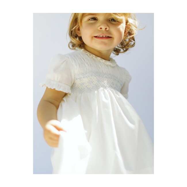 Eloise Smocking Dress, Ivory Batiste