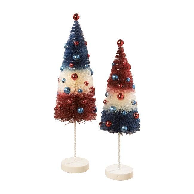 Set of 2 Americana Rocket Bottle Brush Trees