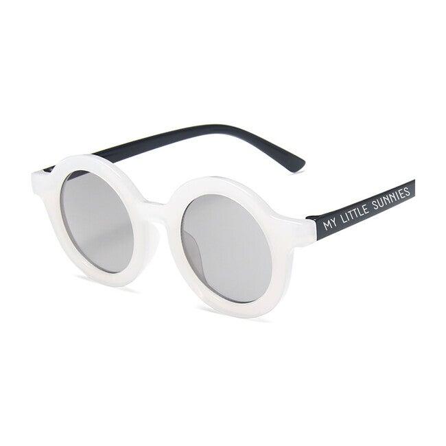 Round Retro Sunglasses, Galaxy White