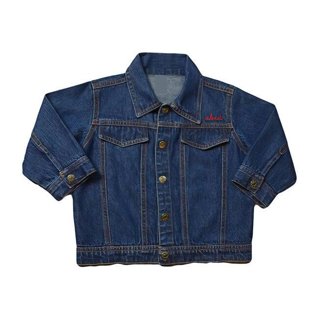 Little Kid Front Embroidery Denim Jacket, Medium Blue
