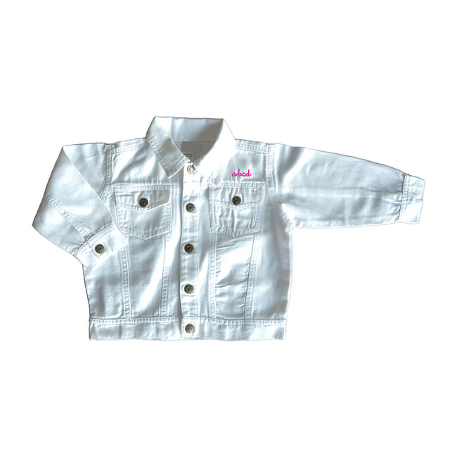 Little Kid Front Embroidery Denim Jacket, White