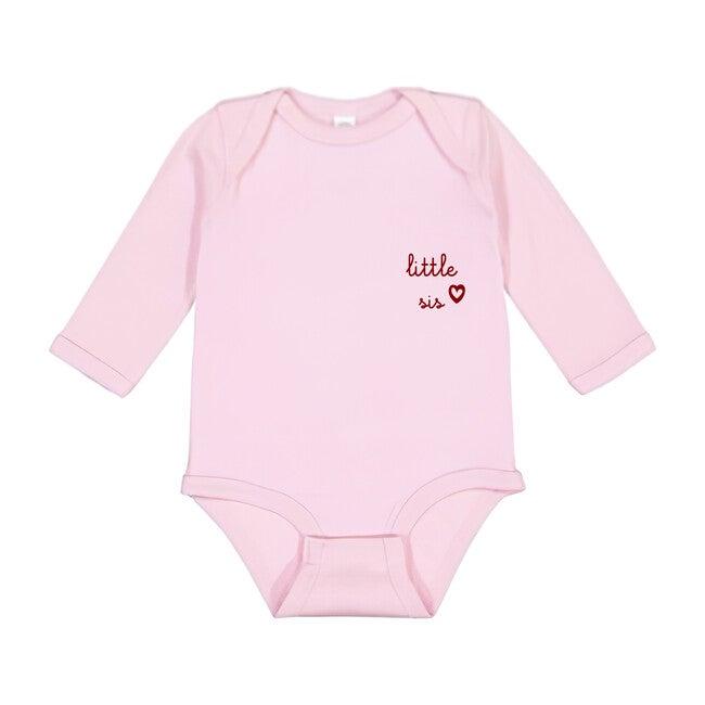 Little Sis Longsleeve Onesie, Pink