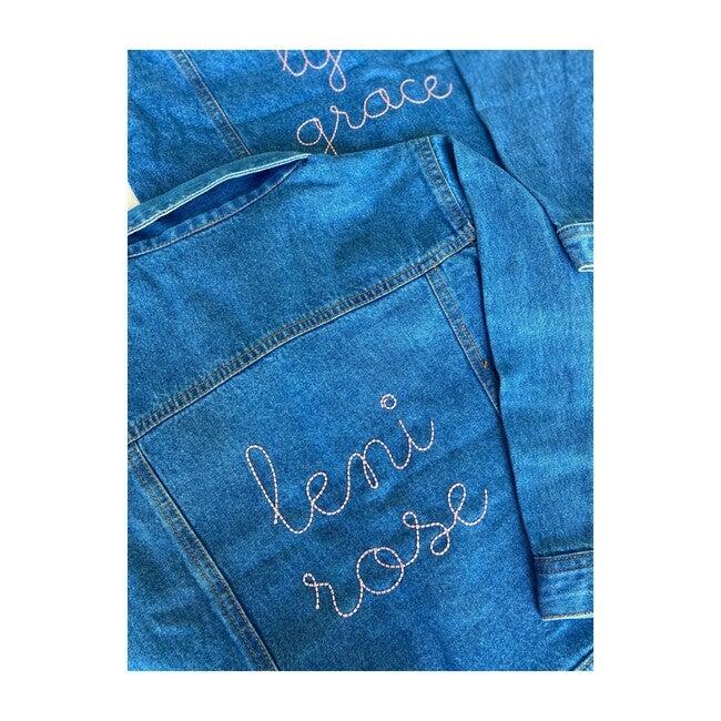 Little Kid Back Embroidery Denim Jacket, Medium Blue