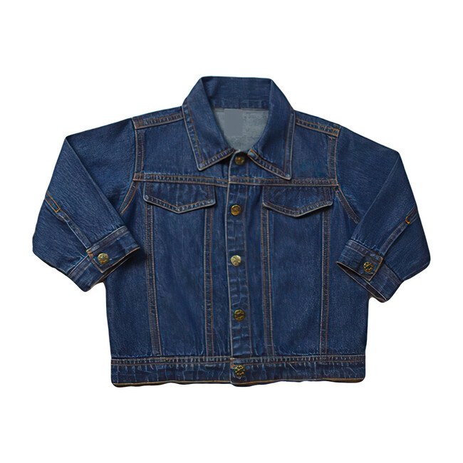 Baby Back Embroidery Denim Jacket, Medium Blue