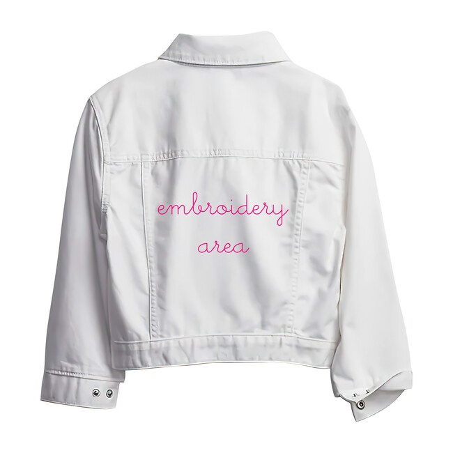 Baby Back Embroidery Denim Jacket, White