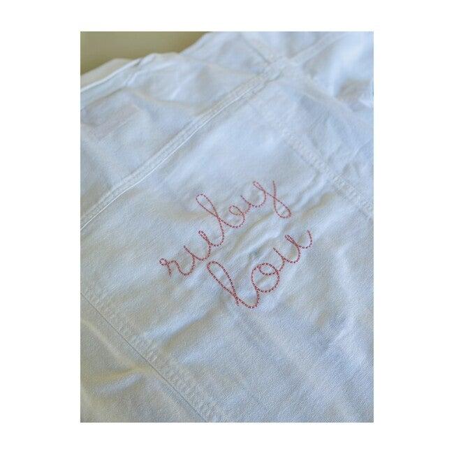 Little Kid Back Embroidery Denim Jacket, White