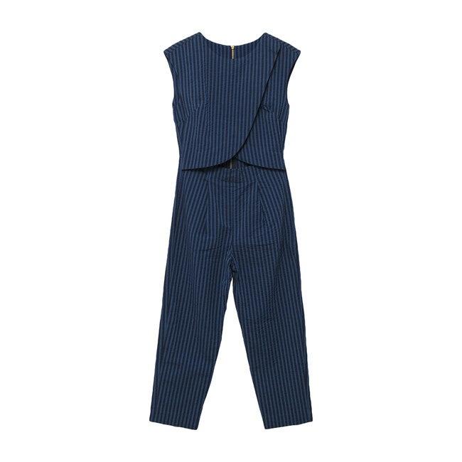 Women's Crossover Nursing Jumpsuit, Blue Stripe