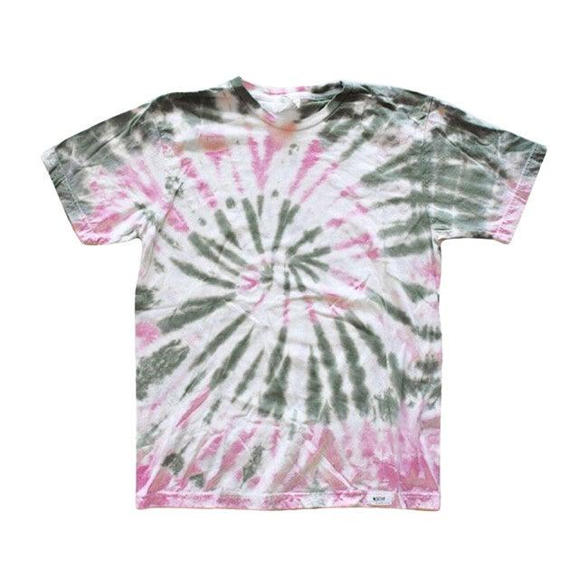 Adult Tie Dye T-Shirt, Olive & Pink - Tees - 1