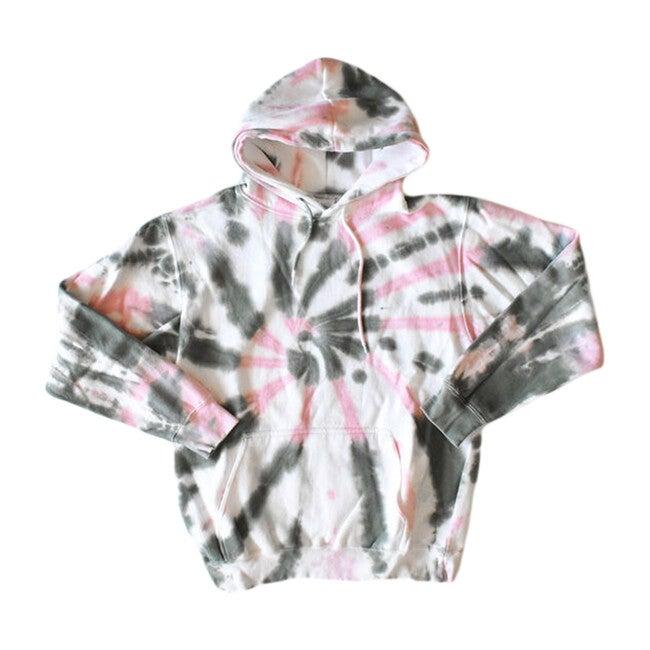 Adult Tie Dye Hoodie, Pink & Olive - Sweatshirts - 1