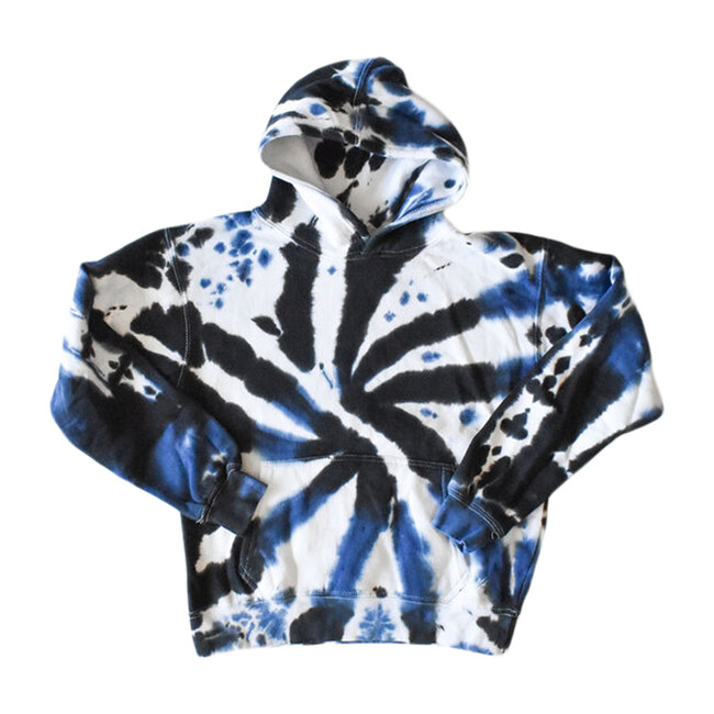 Adult Tie Dye Hoodie, Black & Navy - Sweatshirts - 1