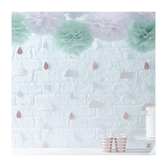 Hello World Backdrop, Rose Gold & Clouds
