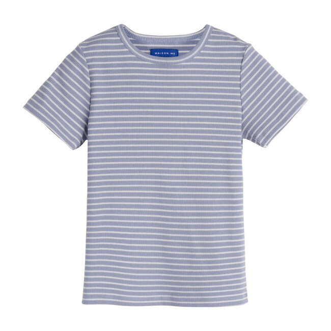 Rain Short Sleeve Ribbed Tee, Dusty Blue & Pale Blue