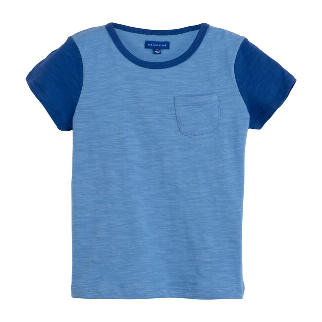 Mo Colorblock Tee, Blue Tonal