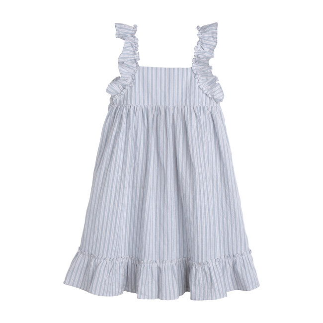 Mila Ruffle Tie Back Dress, Light Blue Stripe - Dresses - 1