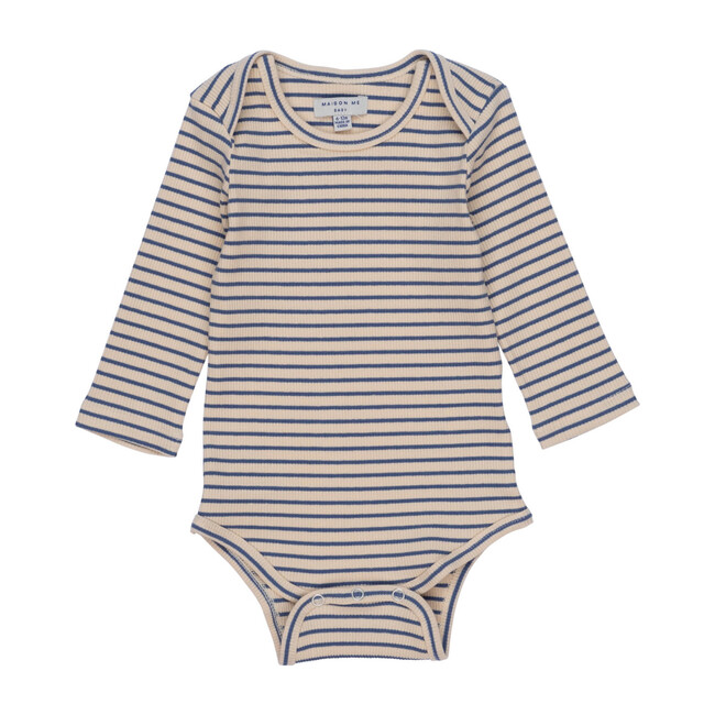 Reagan Long Sleeve Bodysuit, Blue & Natural Stripe
