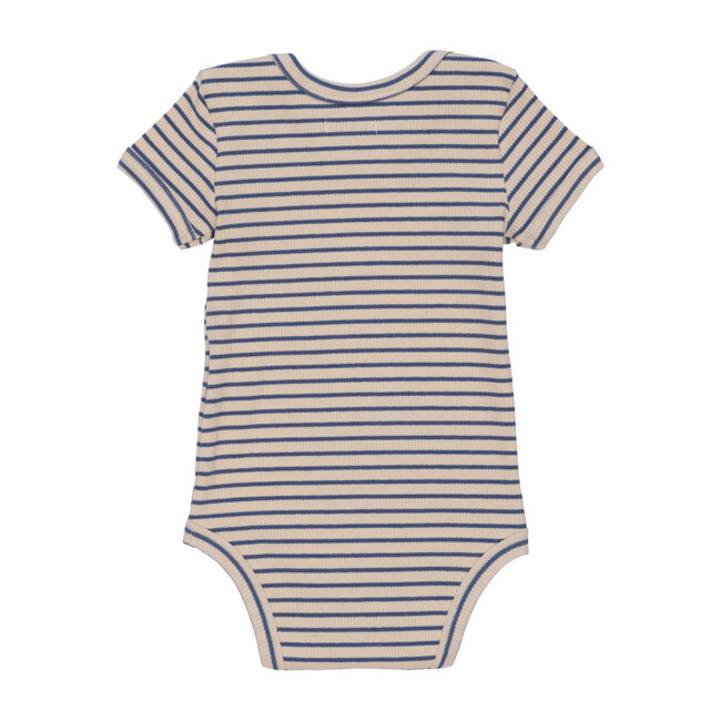 Perry Short Sleeve Bodysuit, Blue & Natural Stripe