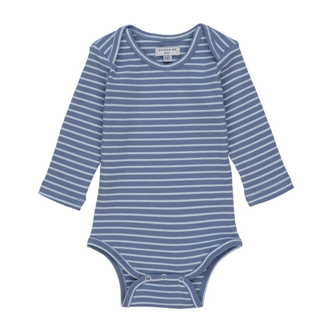 Reagan Long Sleeve Bodysuit, Blue & Light Blue Stripe