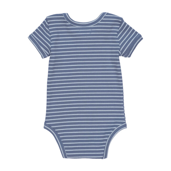 Perry Short Sleeve Bodysuit, Blue & Light Blue Stripe