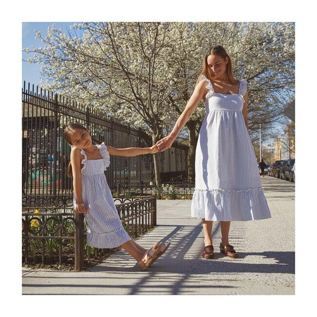 Mara Women's Ruffle Tie Back Dress, Light Blue Stripe