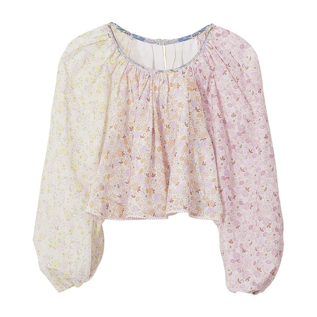 Juliet Bubble Long Sleeve Crop Top, Multicolor