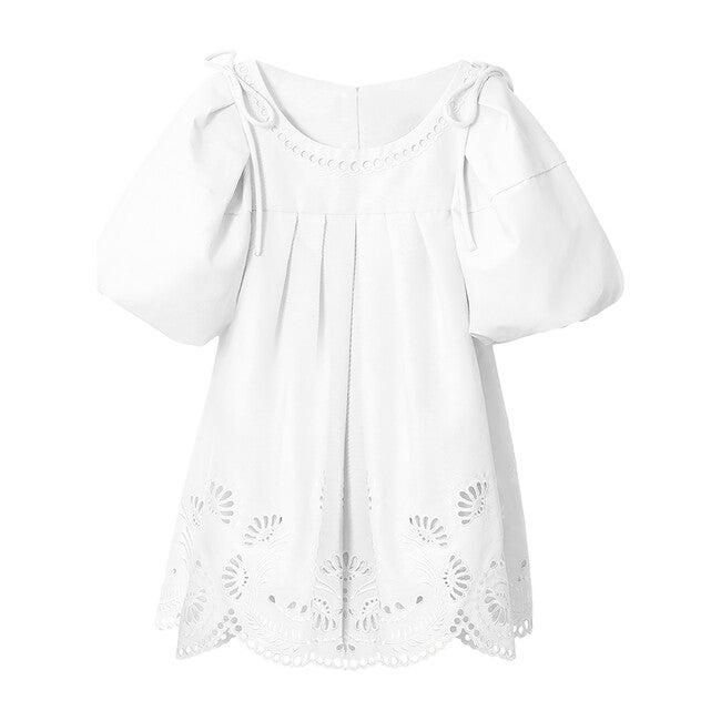 Anita Balloon Sleeve Broderie Mini Dress, Off White