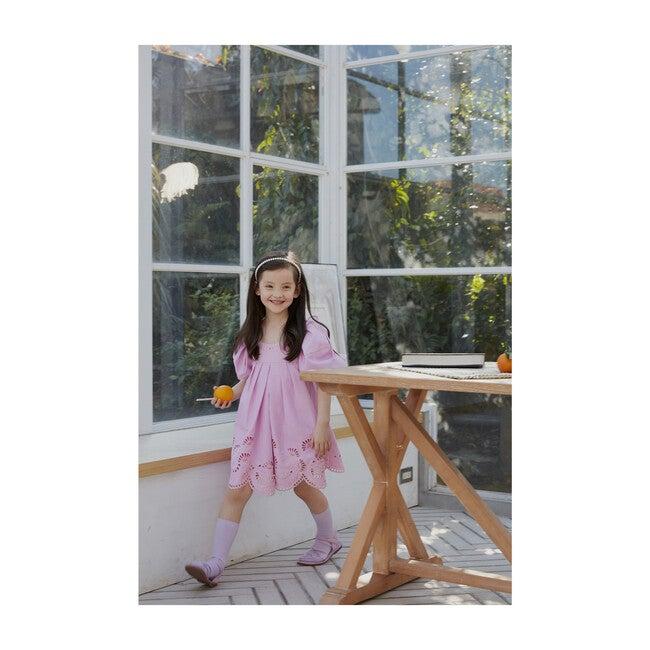 Anita Balloon Sleeve Broderie Mini Dress, Pink Tulle