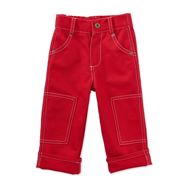 The Knee Patch Jeans, Red Denim