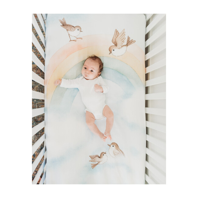 Rainbow and Birds Standard Crib Sheet