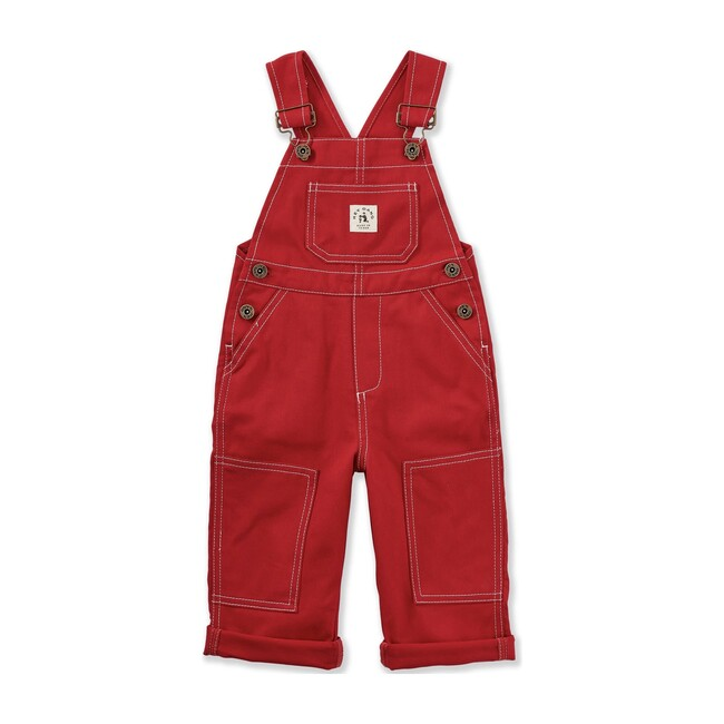 The Knee Patch Overalls, Red Denim
