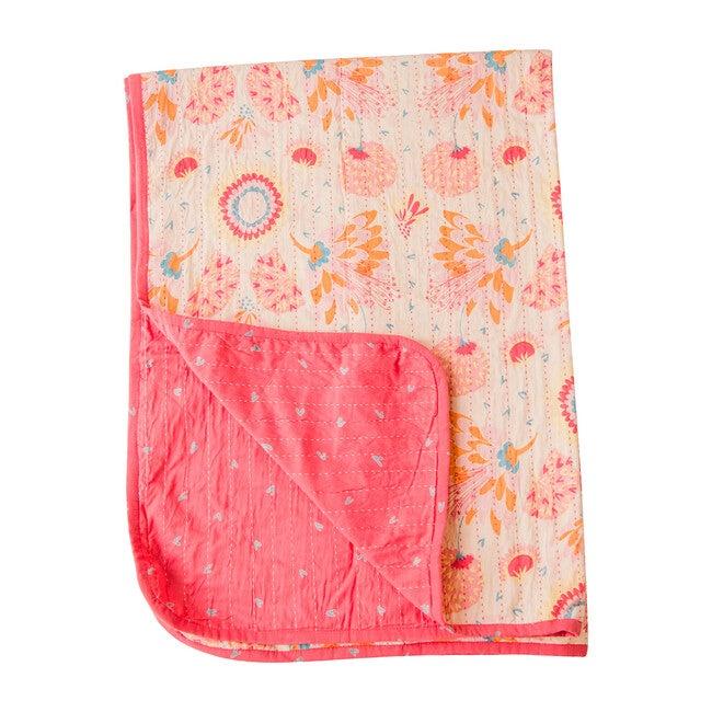 Toddler Quilt, Pink Kantha