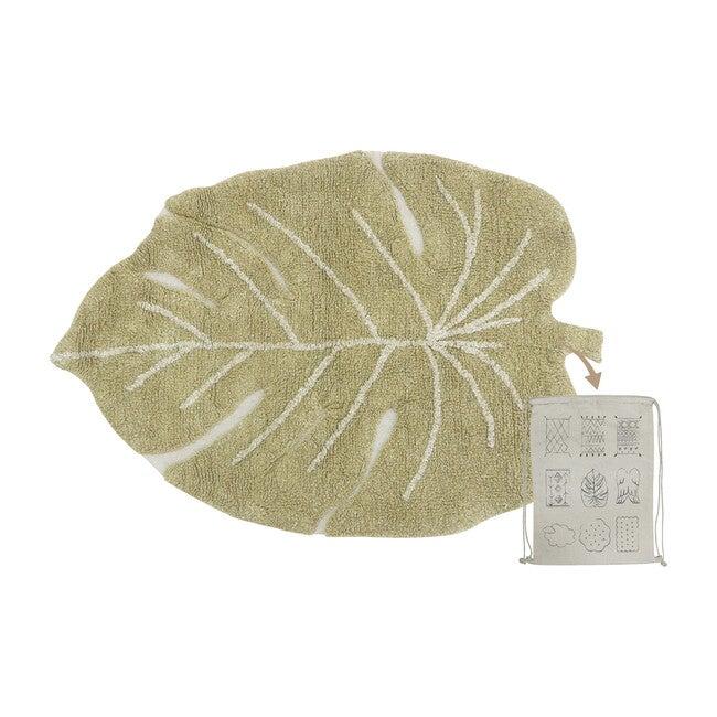 Mini Monstera Washable Rug, Olive