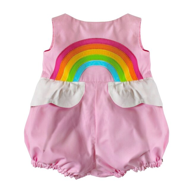 Over the Rainbow Bubble Romper, Sunset Pink