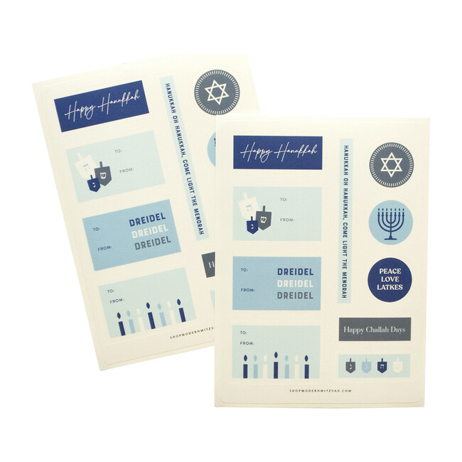 2 Sheets of Hanukkah Gifting Stickers, Blue