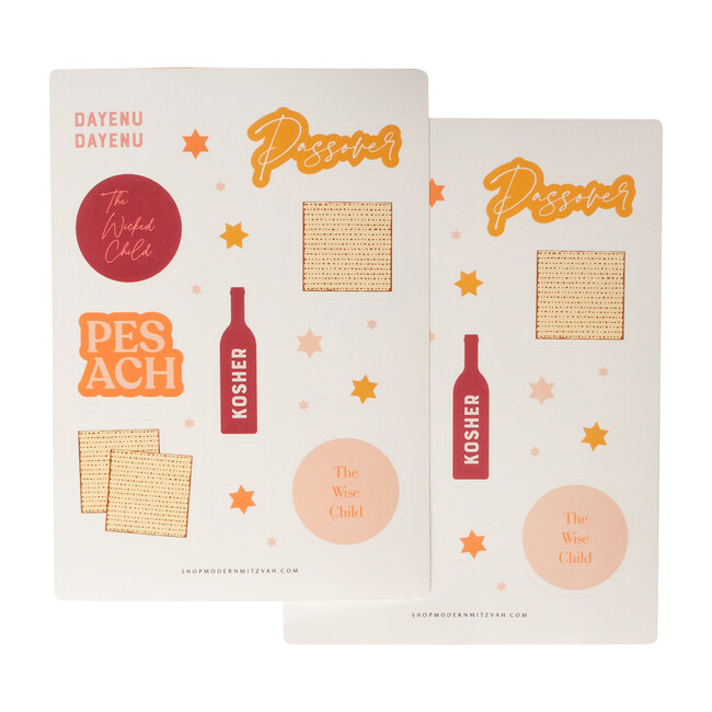 2 Sheets of Passover Stickers, Pink and Yellow