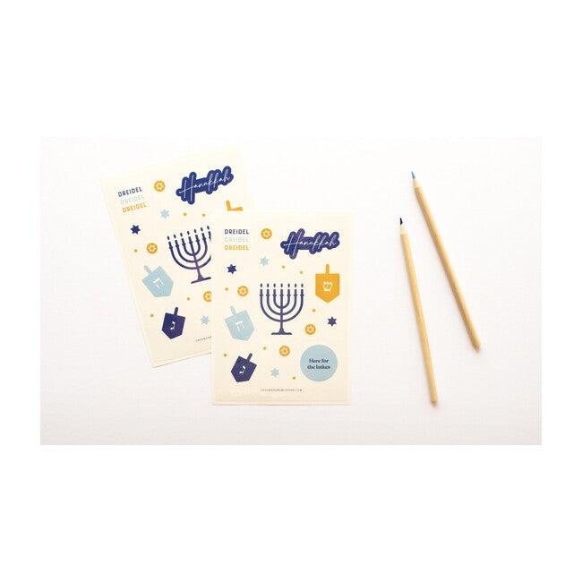 2 Sheets of Hanukkah Stickers, Blue
