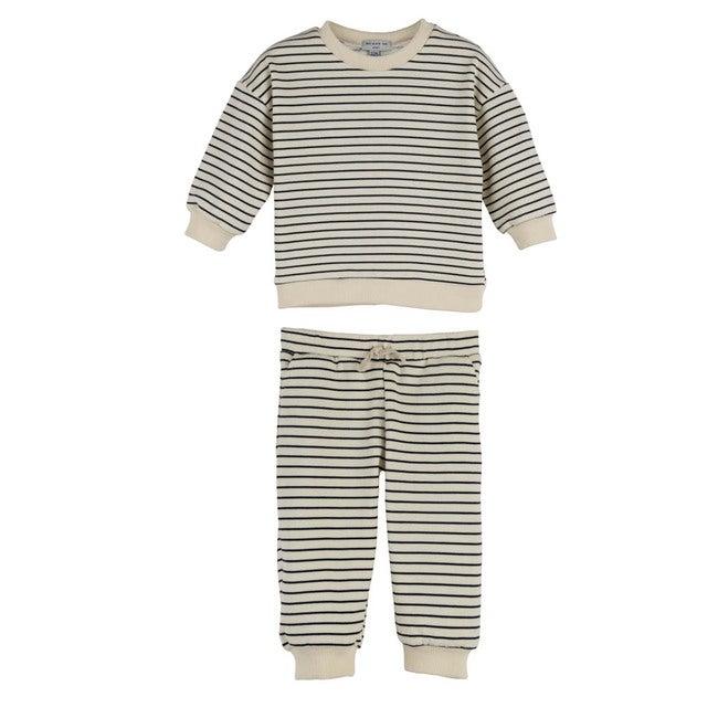 Baby Jones Sweat Set, Cream and Navy Stripe